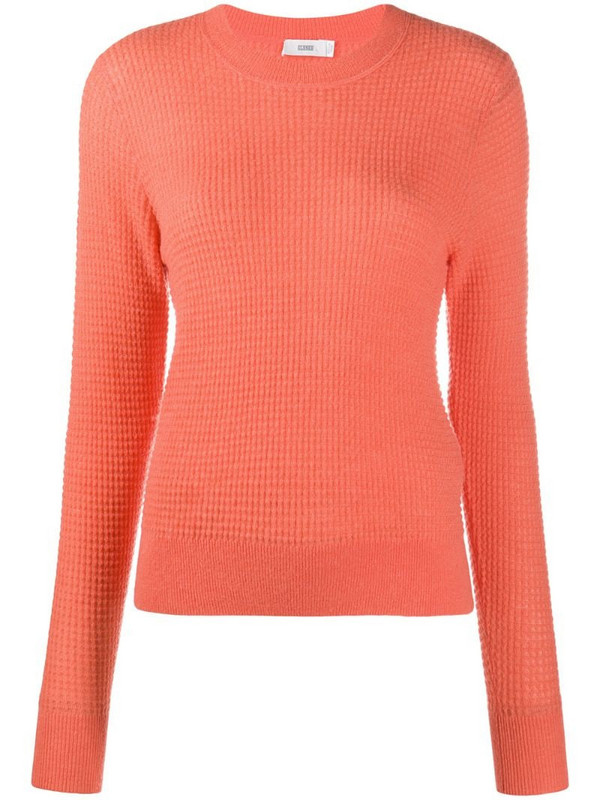 Closed textured knitted jumper in orange