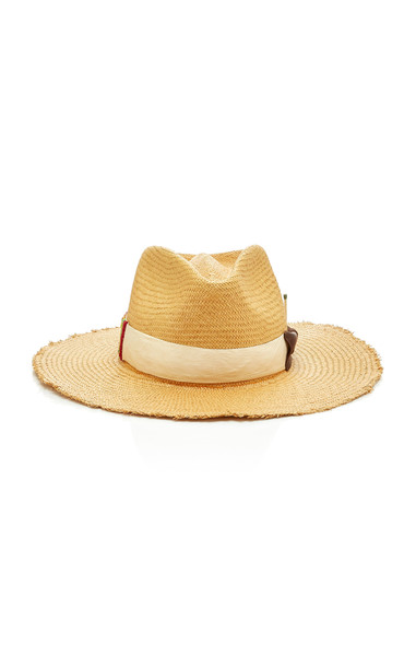 Nick Fouquet Melisande Grosgrain-Trimmed Straw Hat in brown