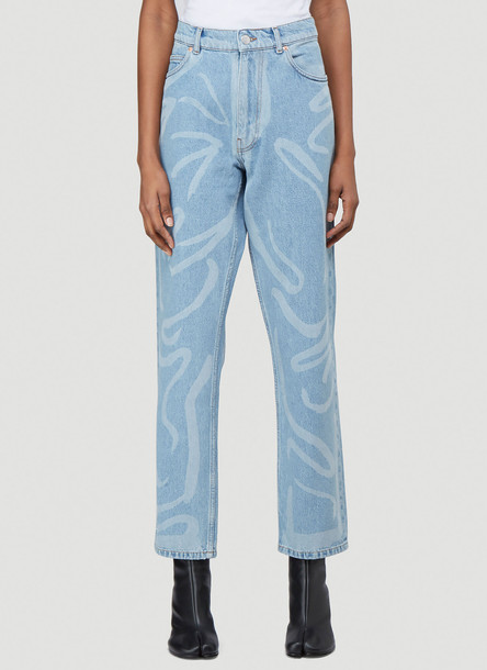 Martine Rose Paint Print Straight-Leg Jeans in Blue size XL