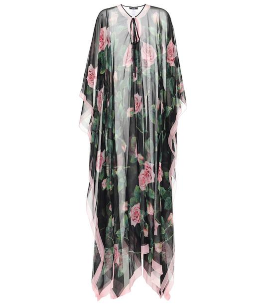Dolce & Gabbana Floral silk-chiffon kaftan in black