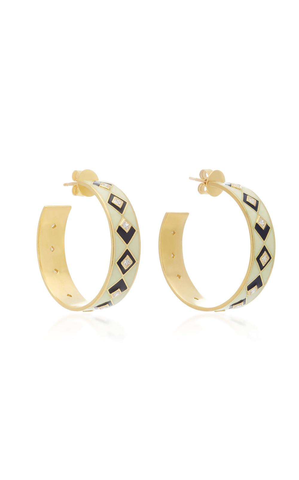 Amrapali Mosaic 18k Gold and Diamond Hoop Earrings in white