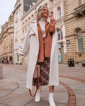 skirt,midi skirt,white boots,ankle boots,white coat,oversized coat,blazer,white turtleneck top,bucket bag