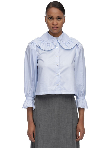 MARYAM NASSIR ZADEH Wide Collar Cotton Poplin Blouse in blue