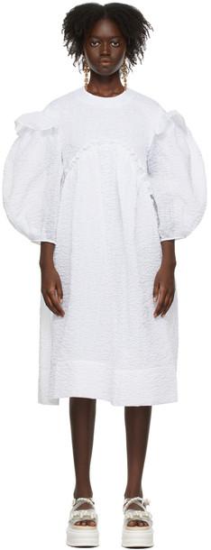 Simone Rocha White Signature Sleeve Smock Dress in ivory
