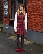 dress,mini dress,plaid dress,loafers,tights,white shirt,black bow