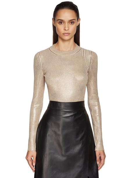 SPORTMAX Lamé Knit Sweater in silver