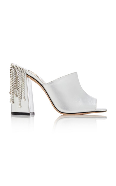 Jimmy Choo Baia Crystal-Embellished Metallic Leather Sandals in silver
