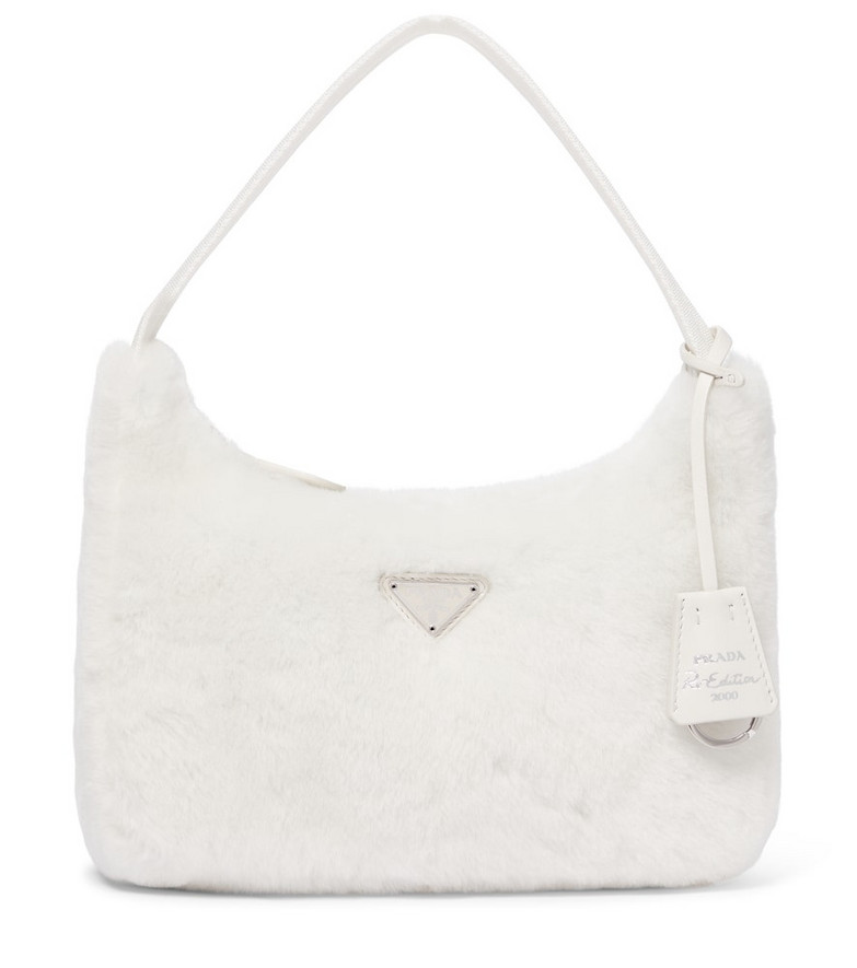 Prada Re-Edition 2000 shearling shoulder bag in white