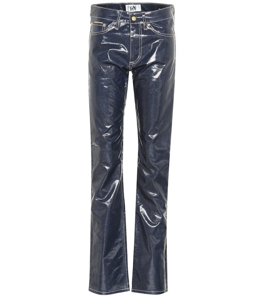 Eytys Cypress Wet mid-rise straight pants in blue