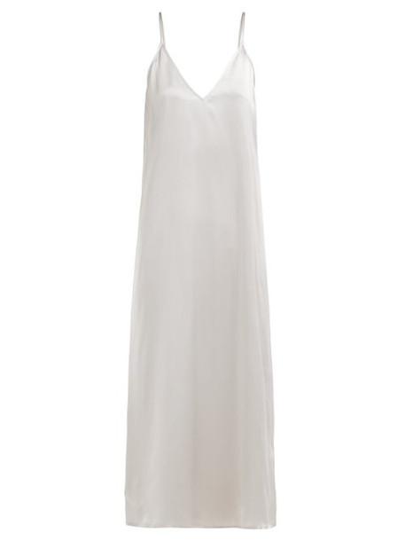 Raey - V Neck Silk Slip Dress - Womens - Light Grey