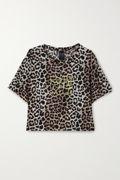 P.E NATION - Bar Down Cropped Printed Linen Top - Leopard print
