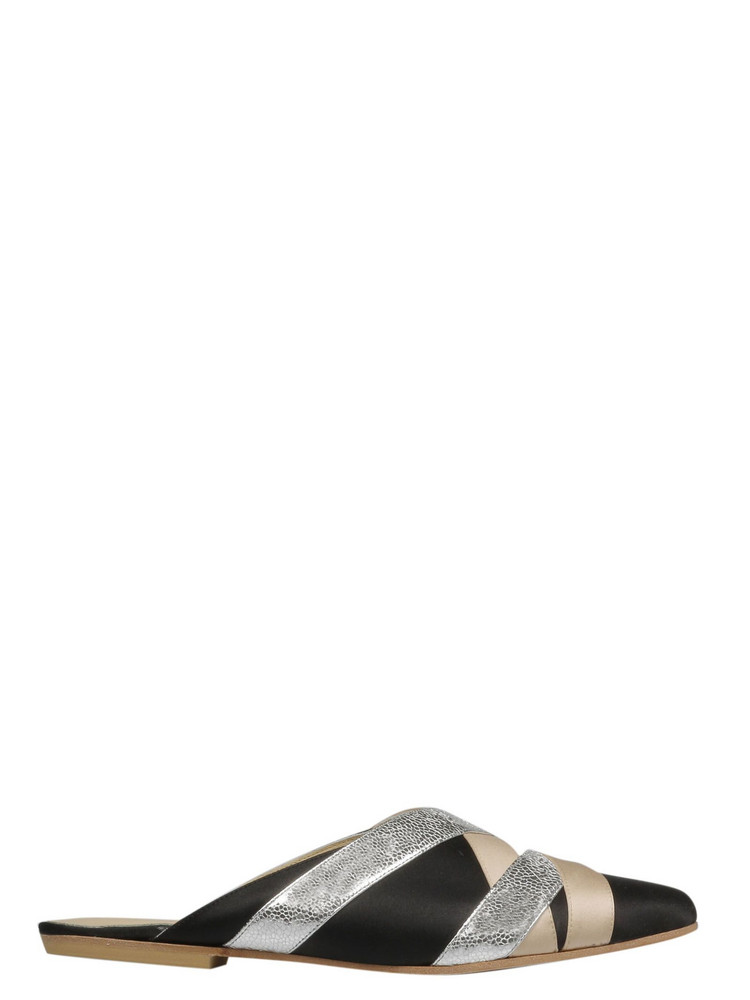 Gia Couture Color-block Mules in black / silver