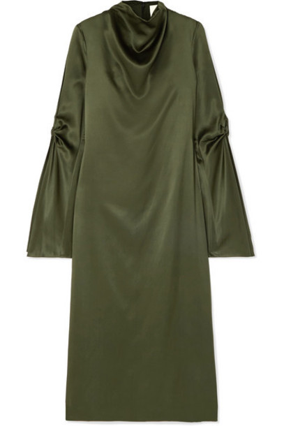 Dion Lee - Cold-shoulder Draped Mulberry Silk-satin Midi Dress - Green