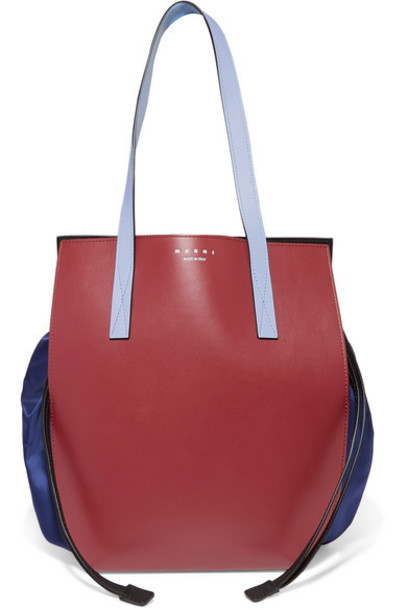Marni - Color-block Leather And Shell Shoulder Bag - Navy