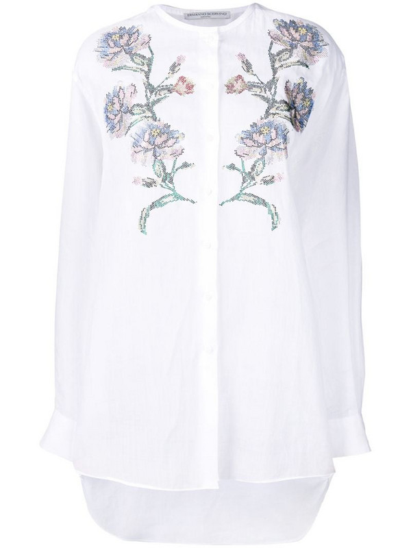 Ermanno Scervino embroidered collarless shirt in white