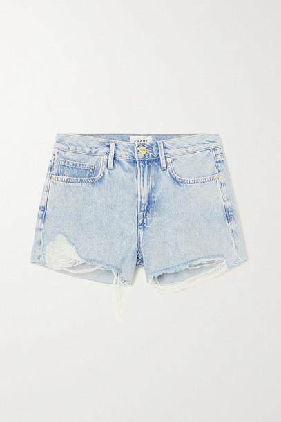 FRAME - Le Brigette Distressed Denim Shorts - Blue