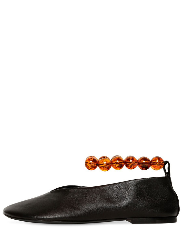 JIL SANDER 10mm Bead Ankle Leather Ballerina Flats in black / orange