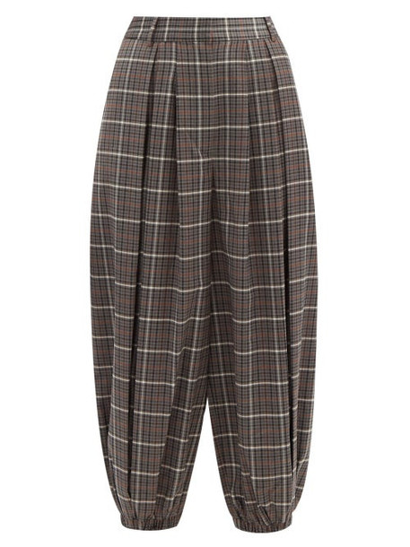 Tibi - Gabe Checked Double-pleated Balloon Trousers - Womens - Grey Multi