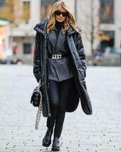 coat,black coat,black boots,black pants,blazer,black turtleneck top,black bag