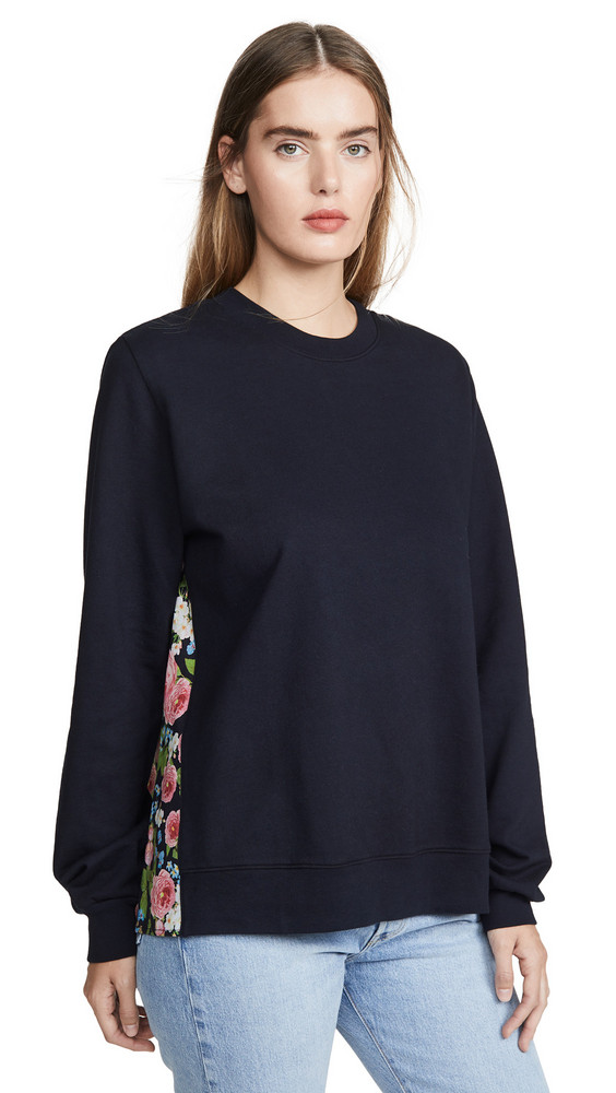 Clu Pullover with Floral Panel in navy