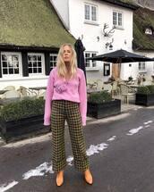 pants,wide-leg pants,plaid,high waisted pants,heel boots,pink sweater,pink bag,mini bag