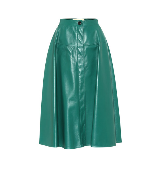 Marni Leather midi skirt in green