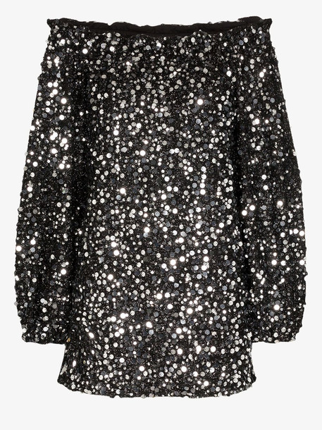 ROTATE Gloria sequinned mini dress in black