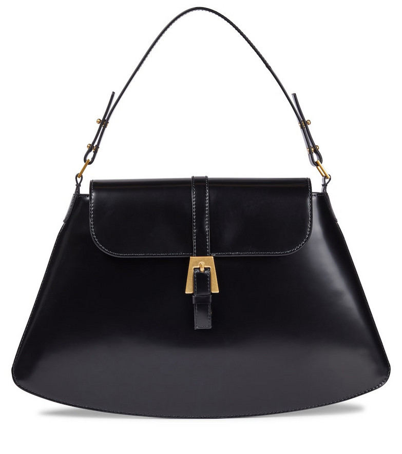 BY FAR Portia patent leather shoulder bag in black