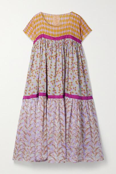 Yvonne S - Wind Tiered Printed Cotton-voile Midi Dress - Purple