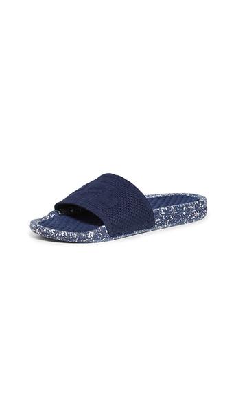 APL: Athletic Propulsion Labs Big Logo TechLoom Slide Sandals in blue