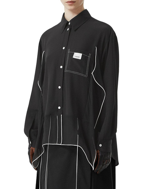 BURBERRY Silk Satin Shirt in black