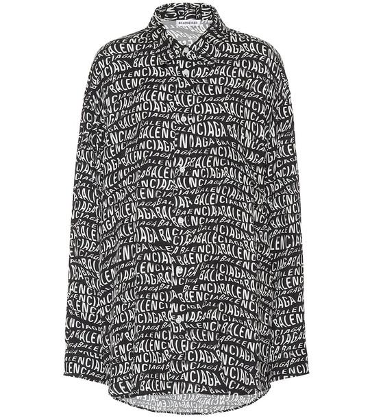 Balenciaga Oversized printed shirt in black