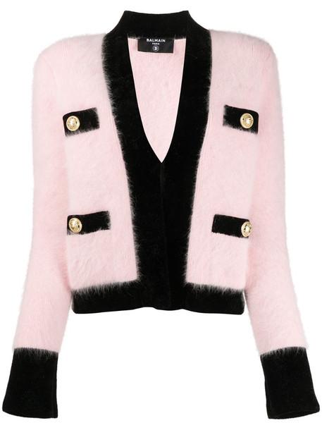 Balmain velvet trim cropped cardigan in pink