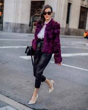 coat,faux fur coat,pumps,leather pants,black pants,high waisted pants,black bag,white shirt
