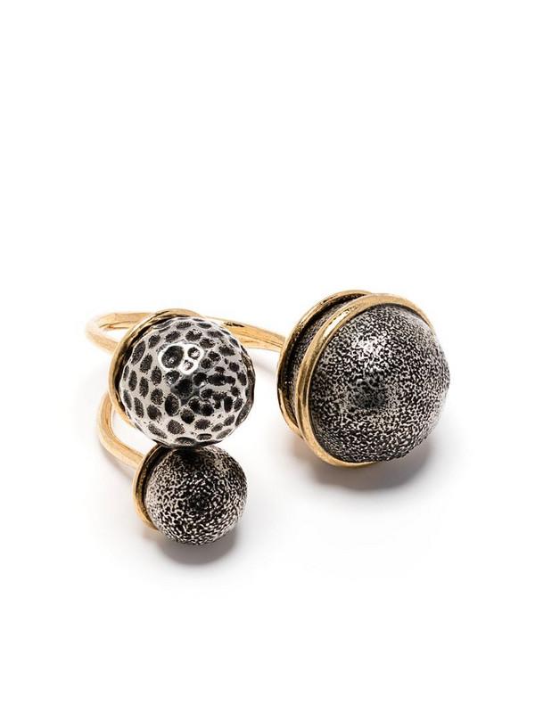 Maison Margiela triple ball ring in gold