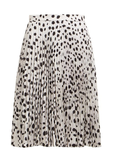 Burberry - Dalmatian Print High Rise Pleated Midi Skirt - Womens - Black White