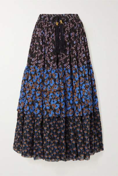 Yvonne S - Tiered Printed Cotton-voile Maxi Skirt - Black