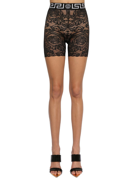 VERSACE Stretch Lace Cycling Shorts in black