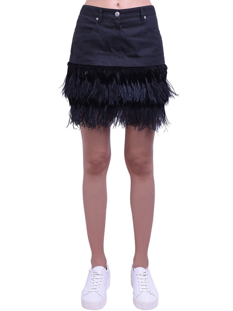 MR & MRS ITALY Cotton Mini Skirt W/feather Details in black
