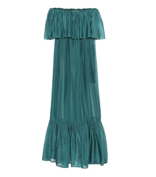 Kalita La Fontelina tiered silk maxi dress in green
