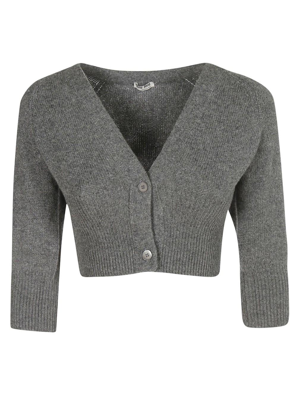 Miu Miu Cropped Cardigan in gray