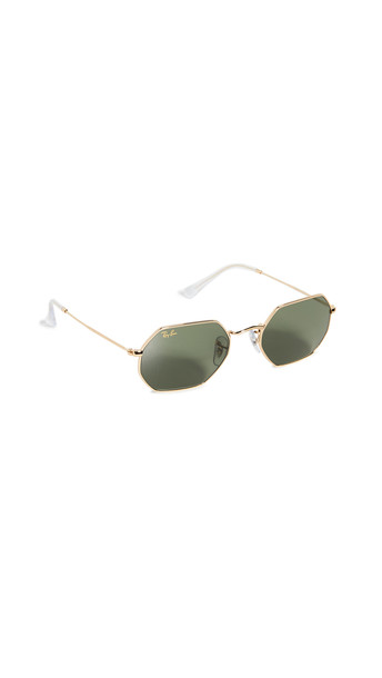 Ray-Ban Icons Narrow Octagonal Sunglasses in gold / green