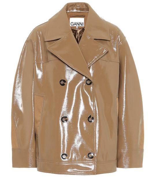 Ganni Patent faux leather jacket in beige