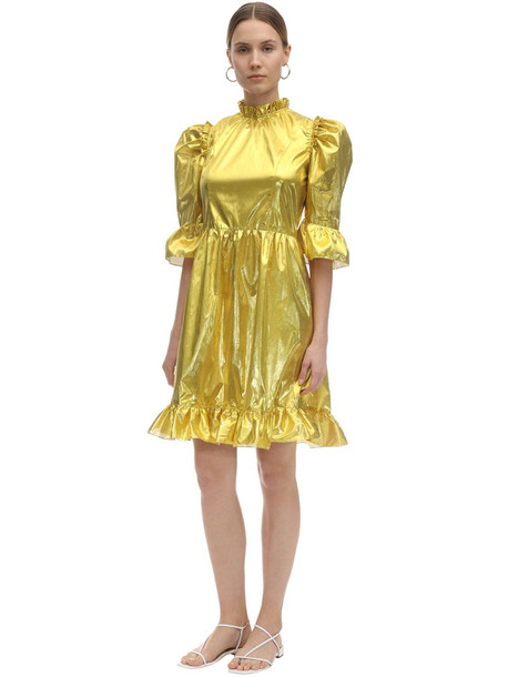 BATSHEVA Spring Prairie Metallic Mini Dress in gold