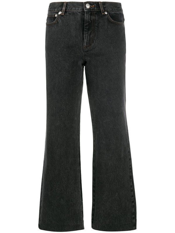 A.P.C. cropped flared jeans in black
