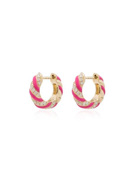 Yvonne Léon 9kt yellow gold diamond hoop earrings