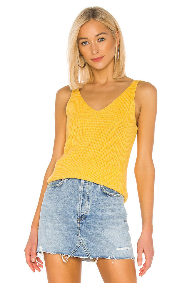525 america Shaker V Neck Tank in yellow