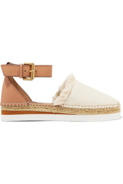 See By Chloé See By Chloé - Leather And Canvas Platform Espadrilles - Ivory