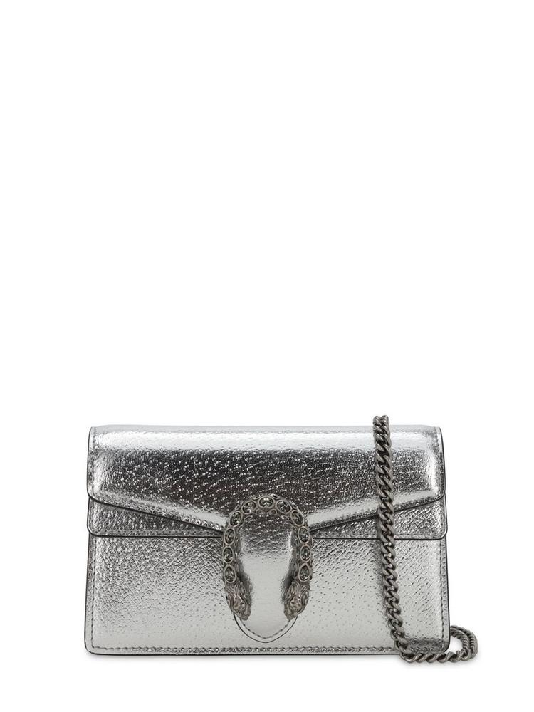 GUCCI Super Mini Dionysus Leather Shoulder Bag in silver