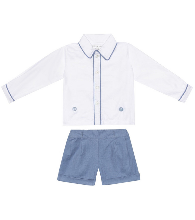 Rachel Riley Baby cotton shirt and shorts set in white